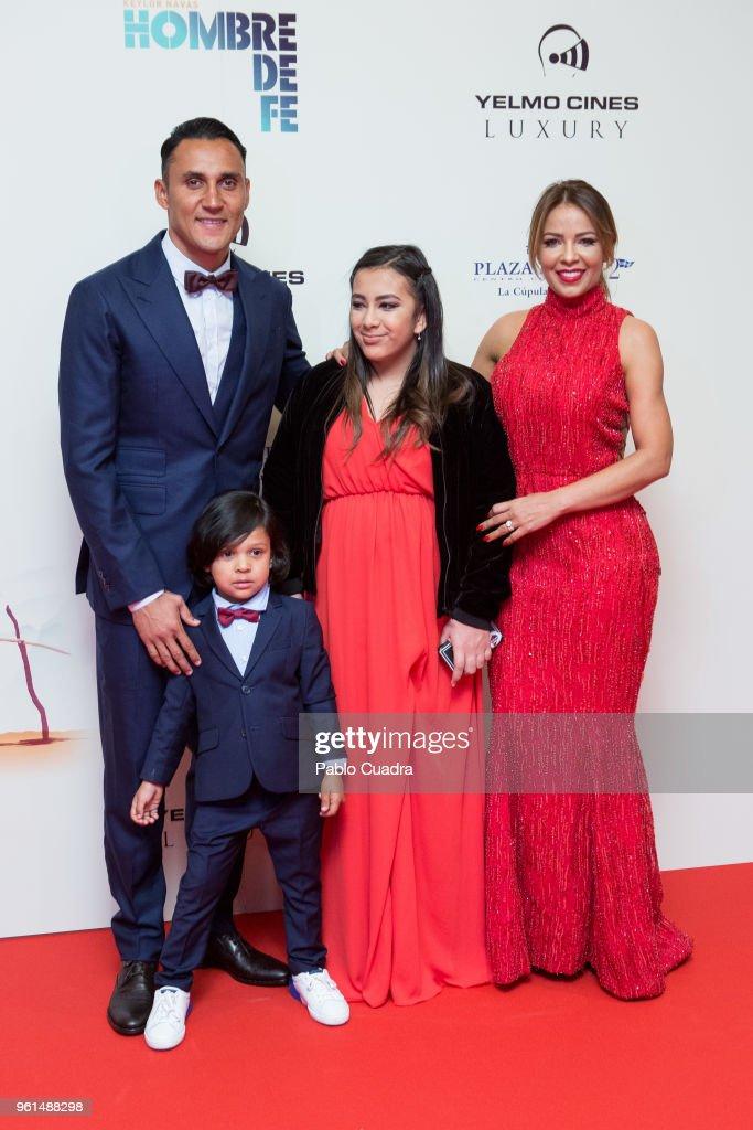 Goalkeeper of Real Madrid Keylor Navas , his wife Andrea Salas, their son Mateo Navas Salas and their daughter Daniela Navas Salas attend the 'Hombre De Fe' premiere at Yelmo cinema on May 22, 2018 in San Sebastian de los Reyes, Spain.