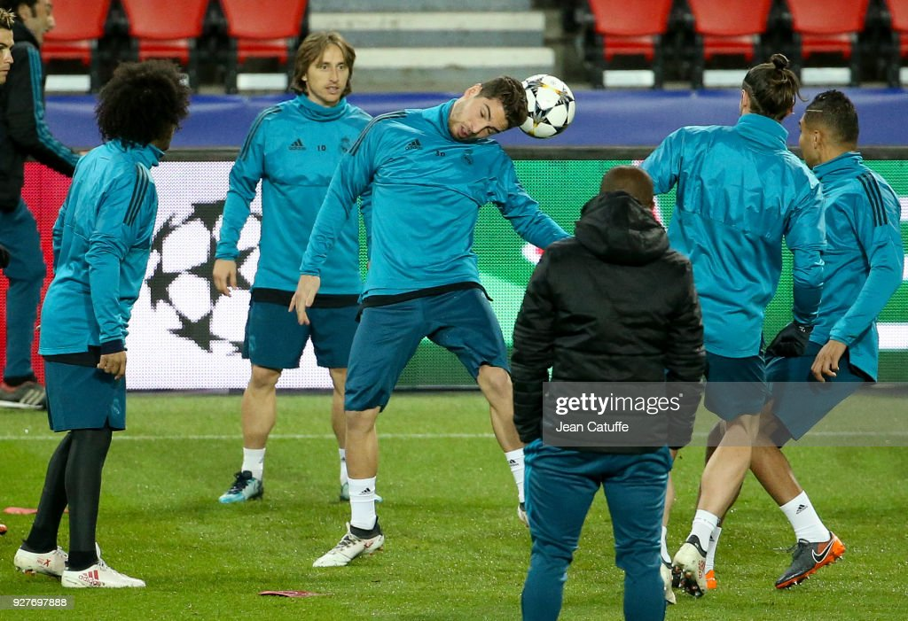 Goalkeeper of Real Madrid Luca Zidane during Real Madrid's training on the eve of UEFA Champions League match between Paris Saint Germain (PSG) and Real Madrid at Parc des Princes stadium on March 5, 2018 in Paris, .
