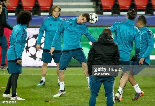 Goalkeeper of Real Madrid Luca Zidane during Real Madrid's training on the eve of UEFA Champions League match between Paris Saint Germain and Real...