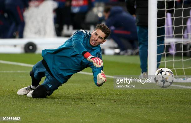 Goalkeeper of Real Madrid Luca Zidane warms up prior to the UEFA Champions League Round of 16 Second Leg match between Paris SaintGermain and Real...