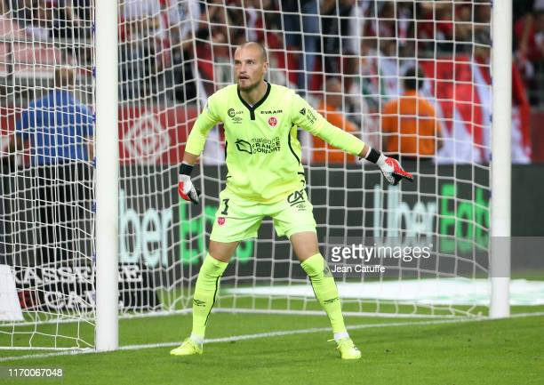 Goalkeeper of Reims Predrag Rajkovic during the Ligue 1 match between Stade de Reims and AS Monaco at Stade Auguste Delaune on September 21, 2019 in...