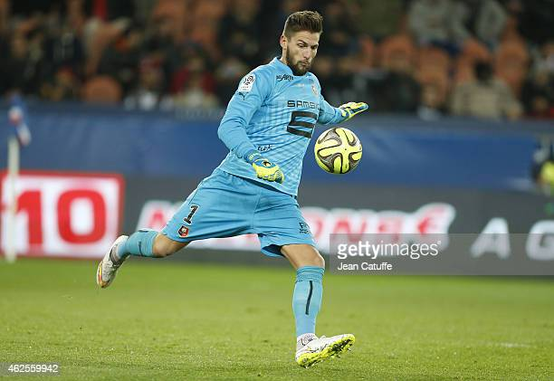 Goalkeeper of Rennes Benoit Costil in action during the French Ligue 1 match between Paris SaintGermain FC and Stade Rennais FC at Parc des Princes...