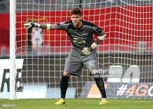 Goalkeeper of Rennes Benoit Costil in action during the french Ligue 1 match between Stade Rennais FC and AS Monaco FC at Stade de la Route de...