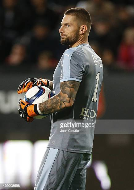Goalkeeper of Rennes Benoit Costil in action during the French Ligue 1 match between Stade Rennais and Paris SaintGermain at Roazhon Park stadium on...