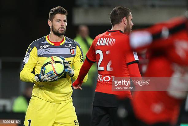 Goalkeeper of Rennes Benoit Costil in action during the French Ligue 1 match between Stade Rennais FC and SCO Angers at Roazhon Park stadium on...