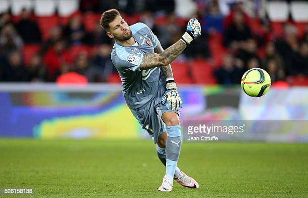 Goalkeeper of Rennes Benoit Costil in action during the French Ligue 1 match between Paris SaintGermain and Stade Rennais FC at Parc des Princes...
