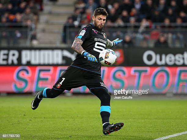 Goalkeeper of Rennes Benoit Costil in action during the French Ligue 1 match between Stade Rennais FC and Paris SaintGermain at Roazhon Park stadium...