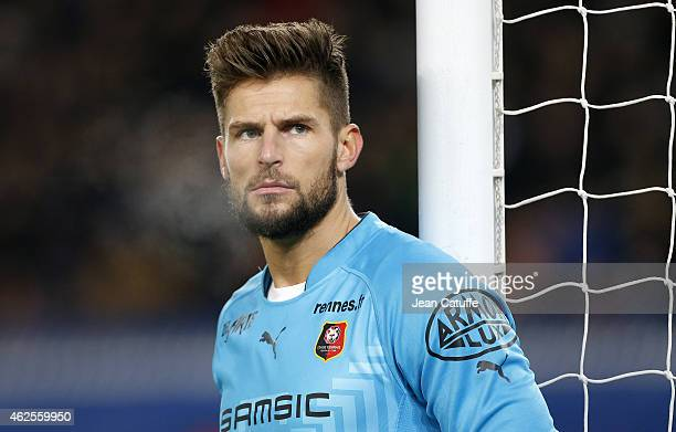 Goalkeeper of Rennes Benoit Costil looks on during the French Ligue 1 match between Paris SaintGermain FC and Stade Rennais FC at Parc des Princes...