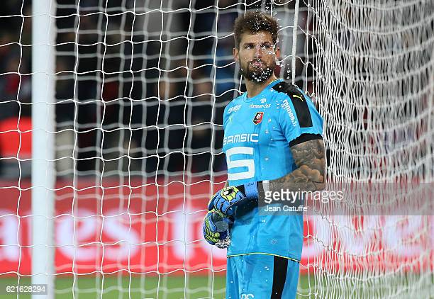 Goalkeeper of Rennes Benoit Costil looks on during the French Ligue 1 match between Paris SaintGermain and Stade Rennais FC at Parc des Princes...