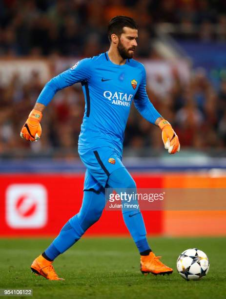 Goalkeeper of Roma Alisson Becker brings the ball out during the UEFA Champions League Semi Final Second Leg match between AS Roma and Liverpool at...