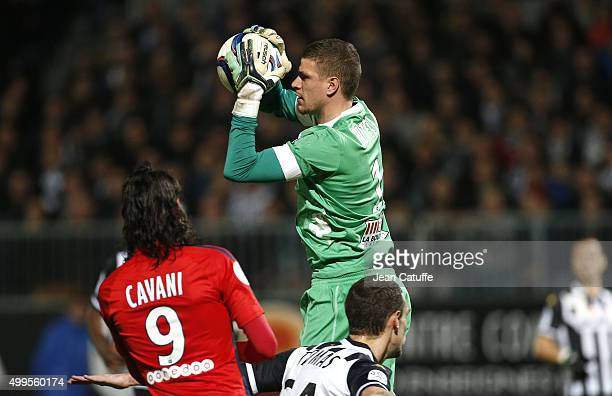Goalkeeper of SCO Angers Ludovic Butelle in action during the French Ligue 1 match between Angers SCO and Paris SaintGermain at Stade Jean Bouin on...