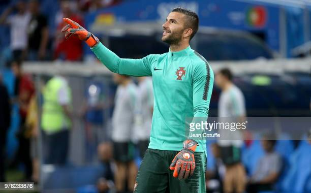 Goalkeeper of Spain Anthony Lopes warms up before the 2018 FIFA World Cup Russia group B match between Portugal and Spain at Fisht Stadium on June 15...