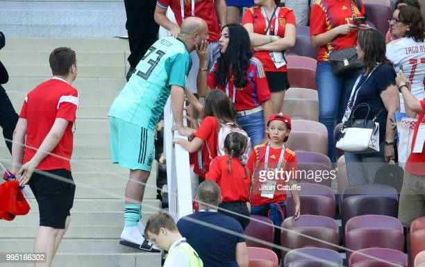 Goalkeeper of Spain Pepe Reina comes to see his family his wife Yolanda Ruiz and their kids following the 2018 FIFA World Cup Russia Round of 16...