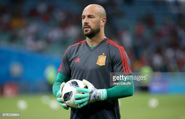 Goalkeeper of Spain Pepe Reina warms up before the 2018 FIFA World Cup Russia group B match between Portugal and Spain at Fisht Stadium on June 15...