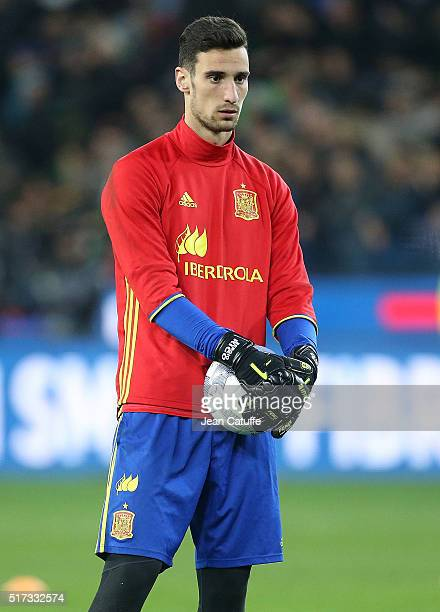 Goalkeeper of Spain Sergio Rico looks on during the warms up before the international friendly match between Italy and Spain at Stadio Friuli on...