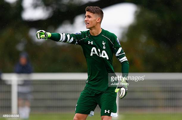 Goalkeeper of Spurs Alfie Whiteman during the Barclays U21 Premier League match between Tottenham Hotspur U21 and Leicester City U21 at Hotspur Way...