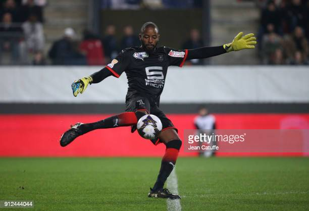 Goalkeeper of Stade Rennais Abdoulaye Diallo during the French League Cup match between Stade Rennais and Paris Saint Germain at Roazhon Park on...