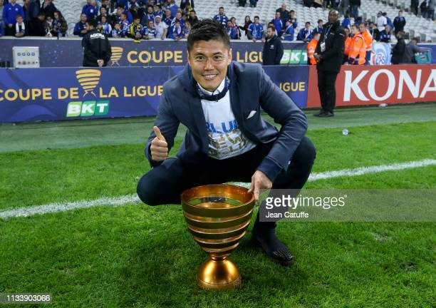 Goalkeeper of Strasbourg Eiji Kawashima celebrates the victory following the French League Cup final between Racing Club de Strasbourg Alsace and En...