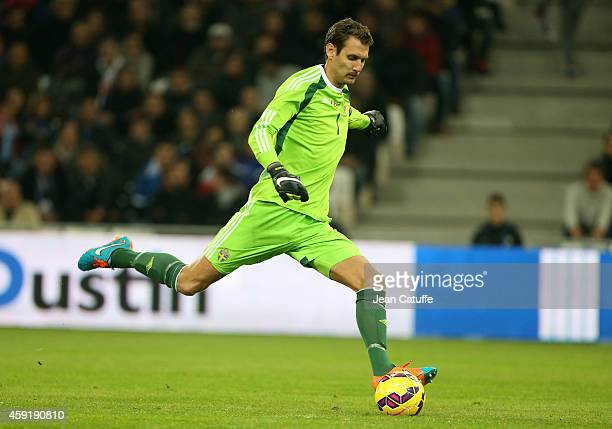 Goalkeeper of Sweden Andreas Isaksson in action during the international friendly match between France and Sweden at the New Stade Velodrome on...