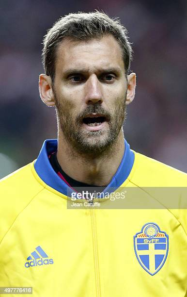 Goalkeeper of Sweden Andreas Isaksson looks on prior to the UEFA EURO 2016 qualifier playoff second leg match between Denmark and Sweden at Telia...