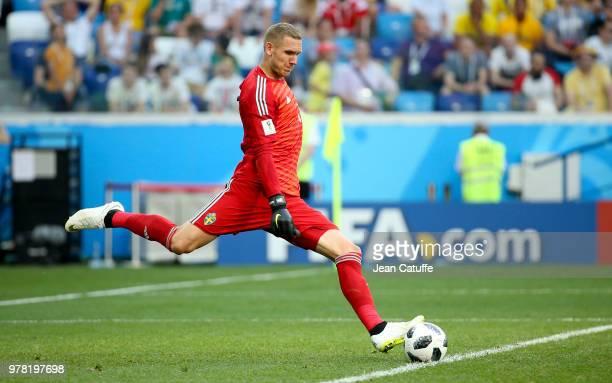 Goalkeeper of Sweden Robin Olsen during the 2018 FIFA World Cup Russia group F match between Sweden and Korea Republic at Nizhniy Novgorod Stadium on...