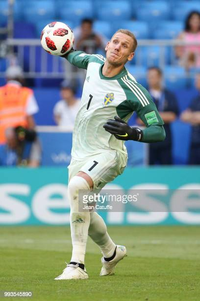 Goalkeeper of Sweden Robin Olsen during the 2018 FIFA World Cup Russia Quarter Final match between Sweden and England at Samara Arena on July 7 2018...