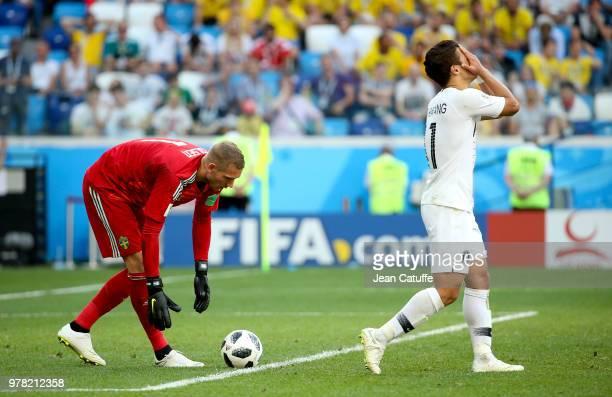 Goalkeeper of Sweden Robin Olsen Hwang Heechan of South Korea during the 2018 FIFA World Cup Russia group F match between Sweden and Korea Republic...