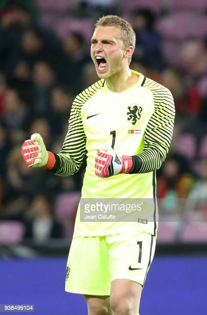 Goalkeeper of the Netherlands Jasper Cillessen celebrates the first goal of his team during the international friendly match between Portugal and the...