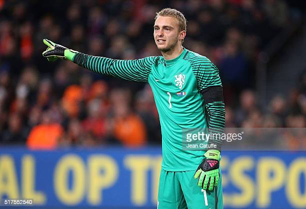 Goalkeeper of the Netherlands Jasper Cillessen reacts during the international friendly match between Netherlands and France at the Amsterdam Arena...