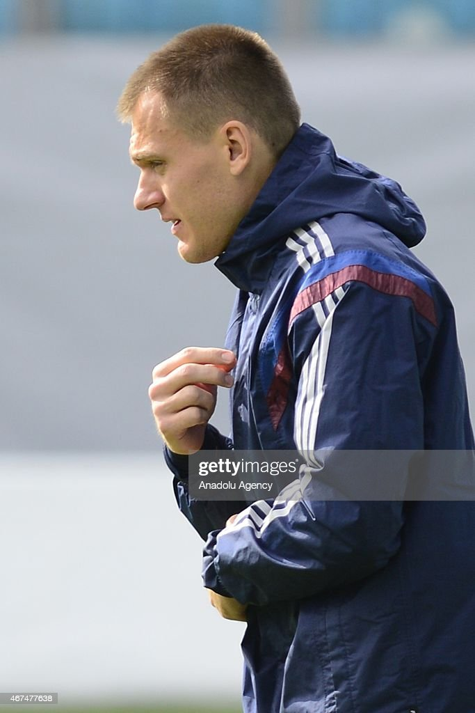 Goalkeeper of the Russia national soccer team Artyom Rebrov seen during training session of Russian national soccer team at Arena Khimki in Russia, Moscow before UEFA Euro 2016 qualifying Group G soccer match against Montenegro national soccer team.