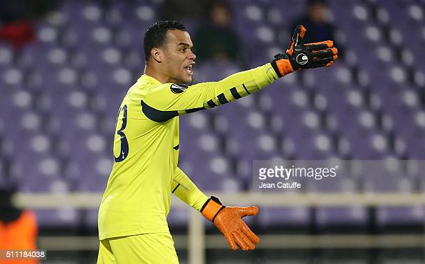 Goalkeeper of Tottenham Michel Vorm in action during the UEFA Europa League round of 32 first leg match between Fiorentina and Tottenham Hotspur at...