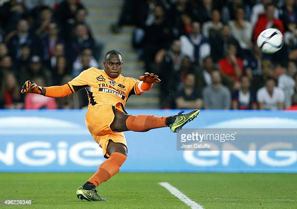 Goalkeeper of Toulouse Ali Ahamada in action during the French Ligue 1 match between Paris SaintGermain and Toulouse FC at Parc des Princes stadium...