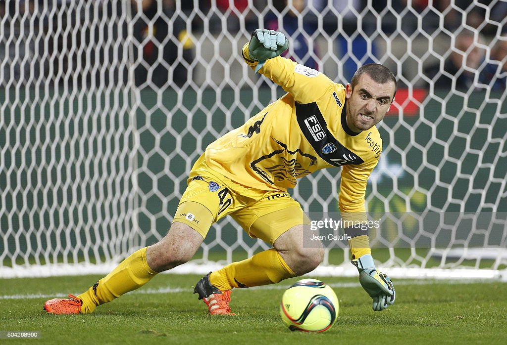 Goalkeeper of Troyes Paul Bernardoni in action during the French Ligue 1 match between Olympique Lyonnais (OL) and Troyes ESTAC at their brand new stadium, Parc Olympique Lyonnais on January 9, 2016 in Lyon, France.
