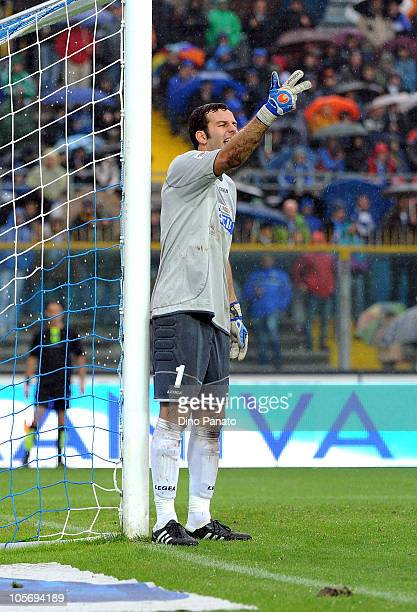 Goalkeeper of Udinese Samir Handanovich gestures during the Serie A match between Brescia Calcio and Udinese Calcio at Mario Rigamonti Stadium on...