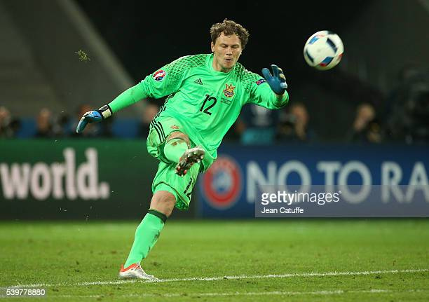 Goalkeeper of Ukraine Andriy Pyatov in action during the UEFA Euro 2016 Group C match between Germany and Ukraine at Stade Pierre Mauroy on June 12...