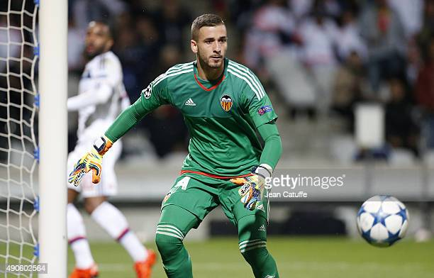 Goalkeeper of Valencia CF Jaume Domenech in action during the UEFA Champions league match between Olympic Lyonnais and Valencia CF at Stade de...