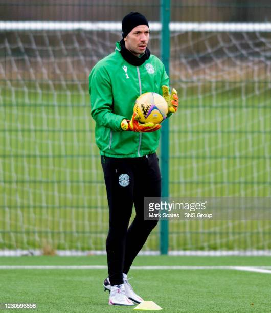 Goalkeeper Ofir Marciano during a Hibernian training session at the Hibernian Training Centre on January 15 in Edinburgh, Scotland.