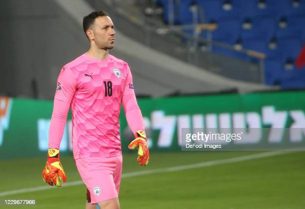 Goalkeeper Ofir Marciano of Israel looks on during the UEFA Nations League group stage match between Israel and Scotland at Netanya Stadium on...