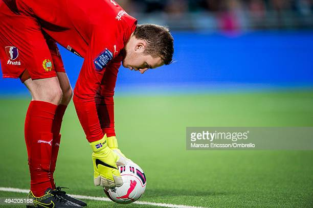 Goalkeeper Ogmundur Kristinsson of Hammarby IF during the Allsvenskan match between Hammarby IF and Malmo FF at Tele2 Arena on October 25 2015 in...