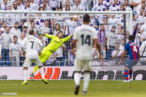 Goalkeeper Oier Olazabal of Levante in action during the La Liga match between Real Madrid CF and Levante UD at Estadio Santiago Bernabeu on October...