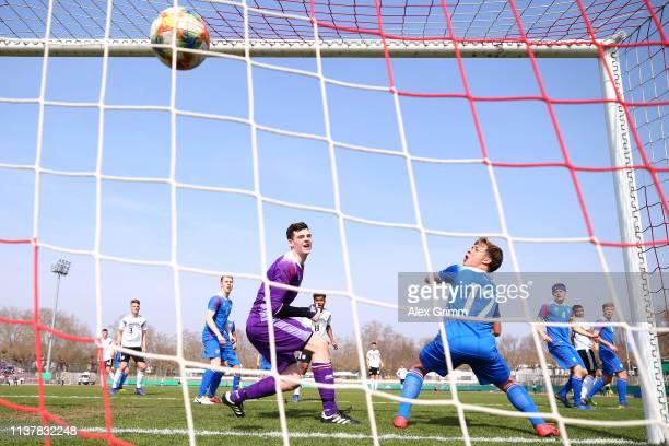 Goalkeeper Olafur Kristofer Helgason and Orri Hrafn Kjartansson of Iceland U17 react as Malik Tillman of Germany U17 scores his team's second goal...