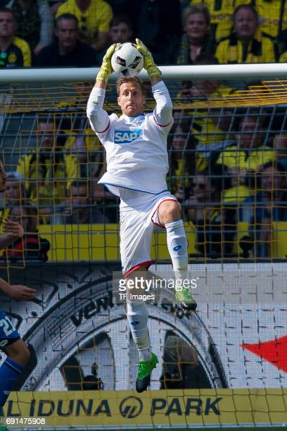 Goalkeeper Oliver Baumann controls the ball during the Bundesliga match between Borussia Dortmund and TSG 1899 Hoffenheim at Signal Iduna Park on May...