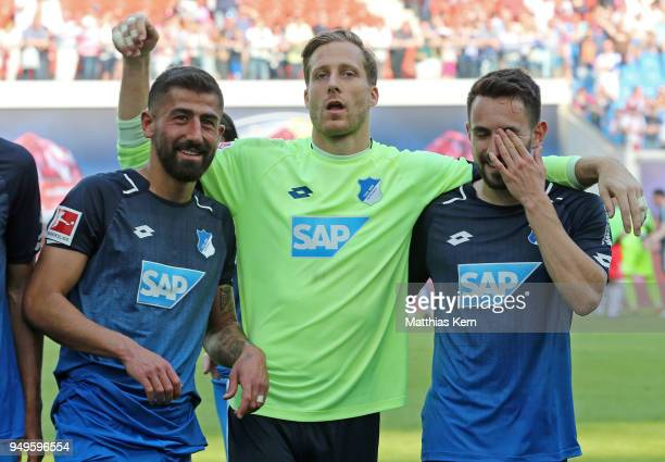 Goalkeeper Oliver Baumann of Hoffenheim and his team mates show their delight after wining the Bundesliga match between RB Leipzig and TSG 1899...