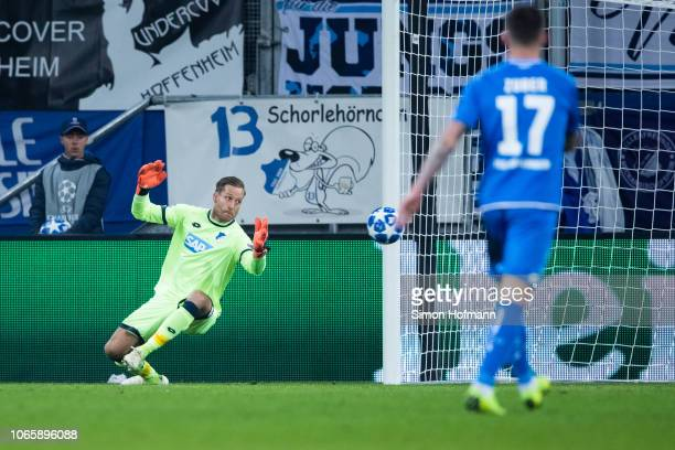 Goalkeeper Oliver Baumann of Hoffenheim looks past the ball as Ismaily of Donetsk scores his team's first goal during the UEFA Champions League Group...