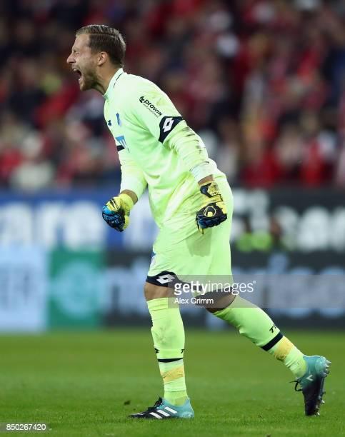 Goalkeeper Oliver Baumann of Hoffenheim reacts during the Bundesliga match between 1. FSV Mainz 05 and TSG 1899 Hoffenheim at Opel Arena on September...