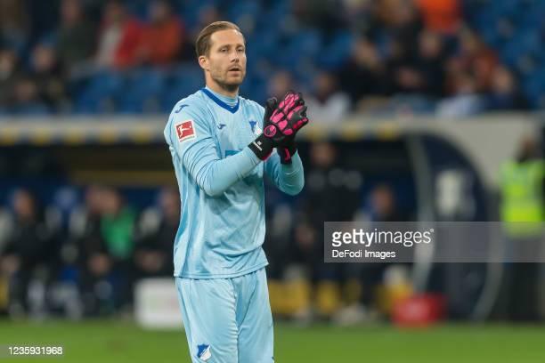 Goalkeeper Oliver Baumann of TSG 1899 Hoffenheim gestures after the Bundesliga match between TSG Hoffenheim and 1. FC Köln at PreZero-Arena on...