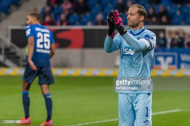 Goalkeeper Oliver Baumann of TSG 1899 Hoffenheim gestures during the Bundesliga match between TSG Hoffenheim and 1. FC Köln at PreZero-Arena on...
