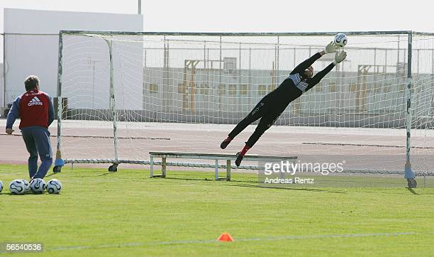 Goalkeeper Oliver Kahn in action during the Bayern Munich training camp on January 8 2006 in Dubai United Arab Emirates