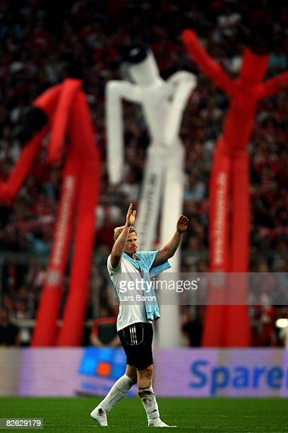 Goalkeeper Oliver Kahn leaves the pitch during the Oliver Kahn farewell match between FC Bayern Muenchen and Germany at the Allianz Arena on...