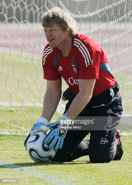 Goalkeeper Oliver Kahn looks on during the morning session at the training camp of German Bundesliga club Bayern Munich on January 10 2006 in Dubai...